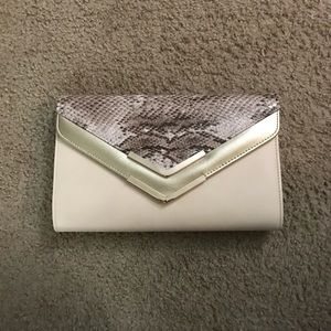 Aldo Cream and Faux Snakeskin Clutch